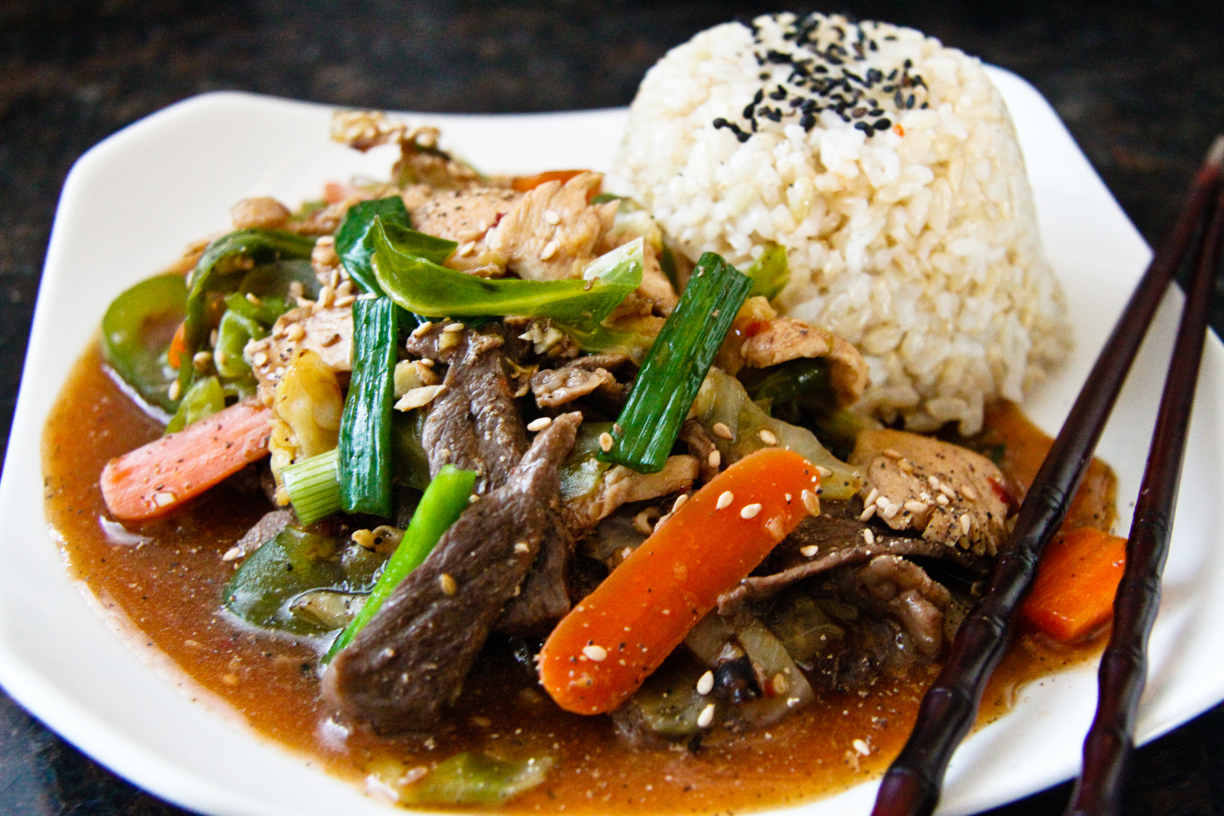 Beef and Chicken Stir Fry   ChefJulieYoon.com