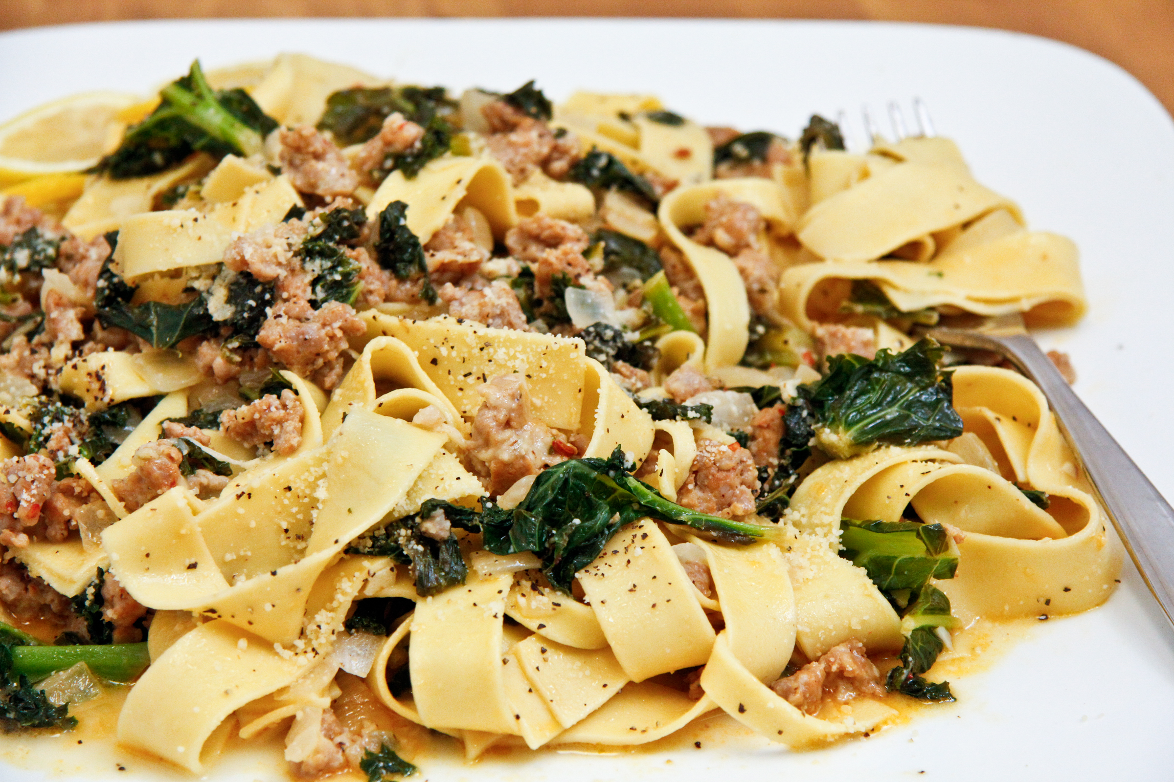 Pappardelle with Sausage and Kale | ChefJulieYoon.com