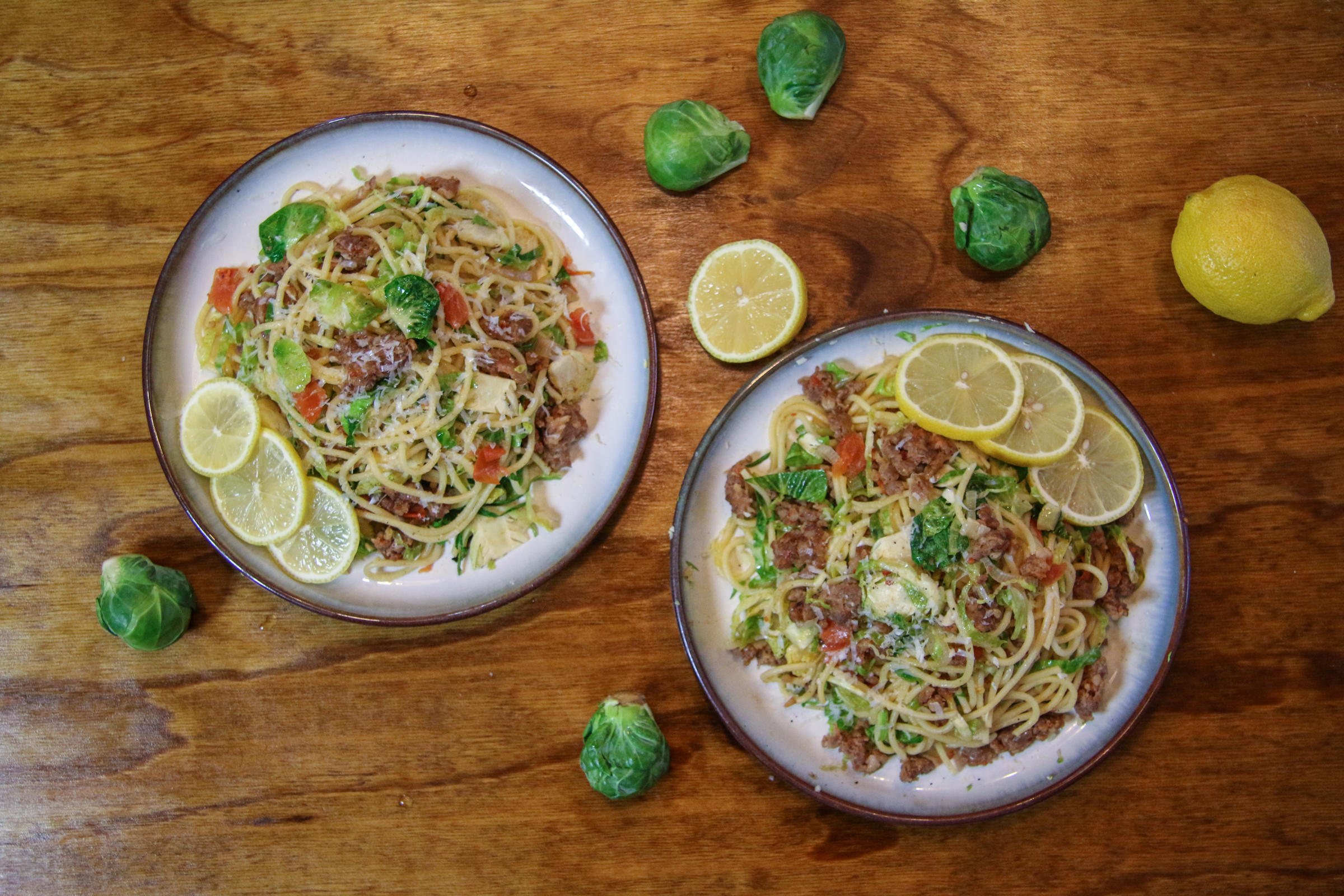 Sausage Brussels Sprouts Spaghetti | ChefJulieYoon.com