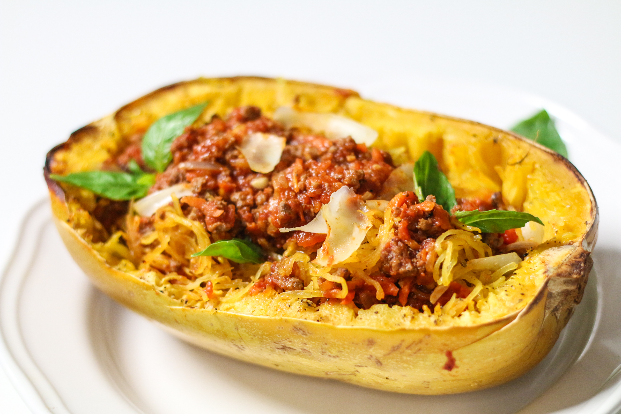Spaghetti Squash with Easy Meat Sauce | ChefJulieYoon.com