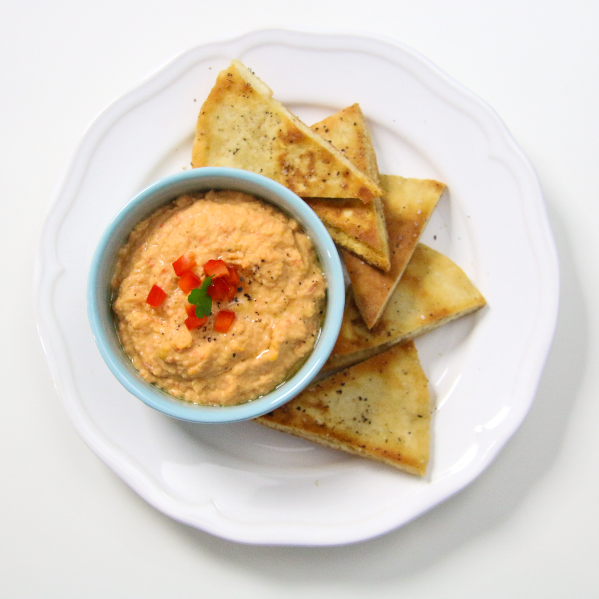 Pita Chips Roasted Red Pepper Hummus | ChefJulieYoon.com