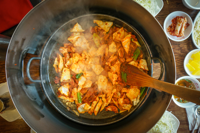 Korean Spicy Chicken Stir Fry (닭갈비) : Korea Trip Vlog 3 | ChefJulieYoon.com