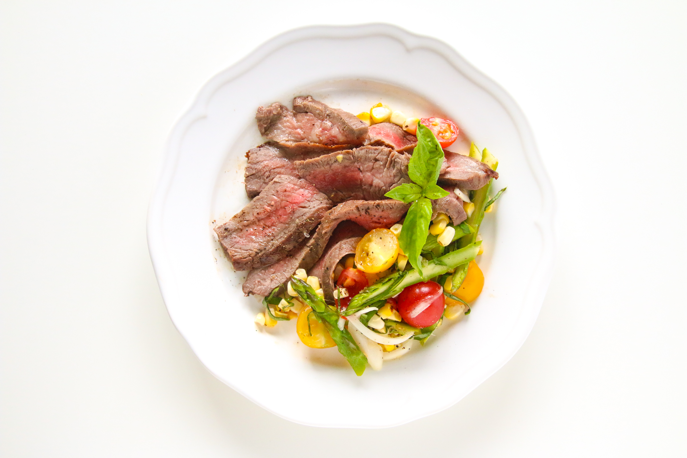 Marinated Flank Steak with Corn Asparagus and Tomato Salad | ChefJulieYoon.com