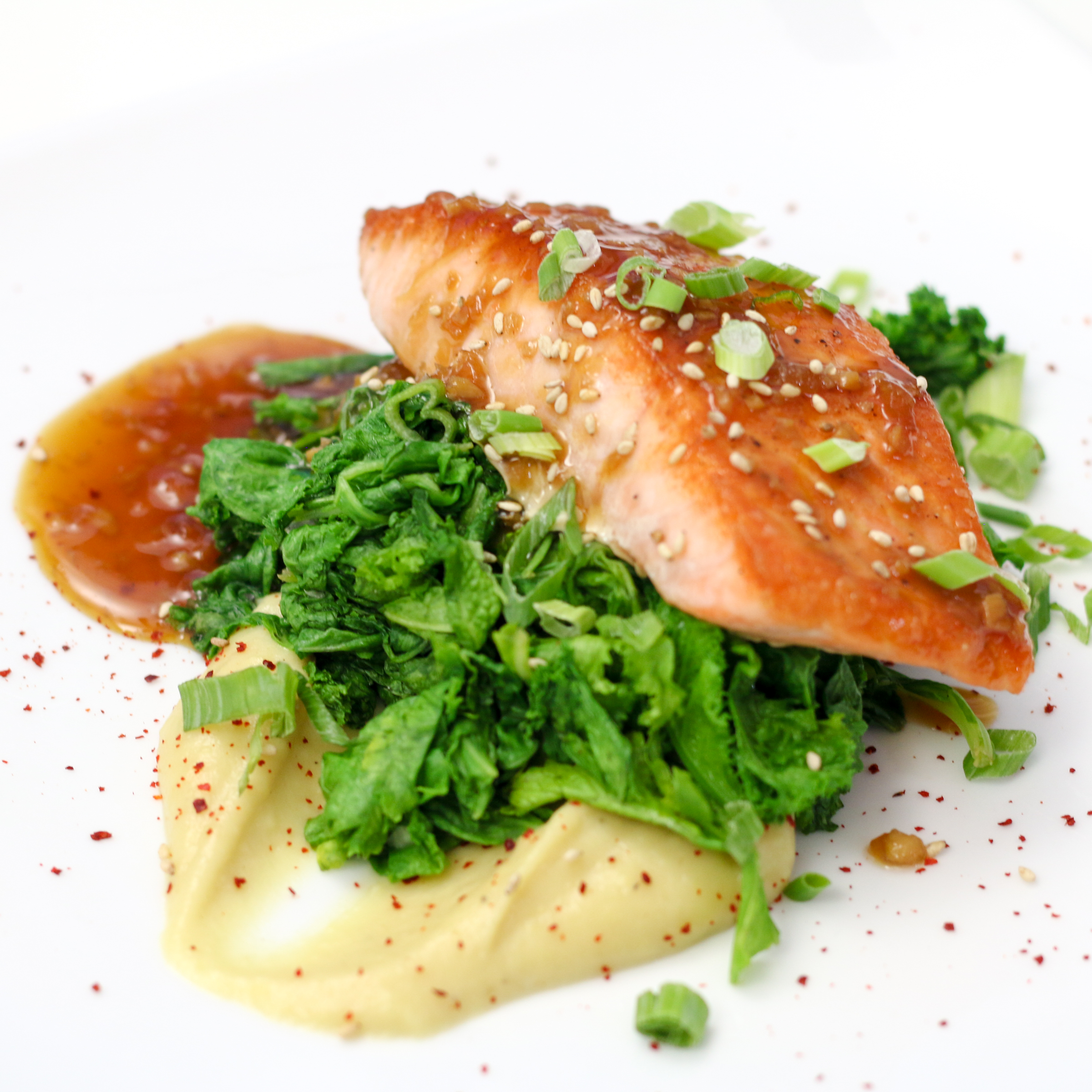 Bulgogi Glazed Salmon with Goguma Puree | ChefJulieYoon.com